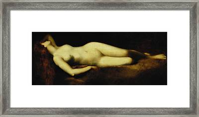 A Reclining Nude Framed Print by Jean Jacques Henner