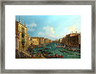 A Regatta On The Grand Canal By Canaletto Framed Print by Pg Reproductions