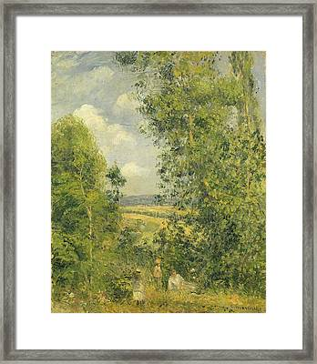 A Rest In The Meadow Framed Print by Camille Pissarro