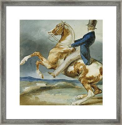 A Rider And His Rearing Horse Framed Print by Theodore Gericault