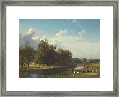 A River Landscape Westphalia Framed Print by Albert Bierstadt