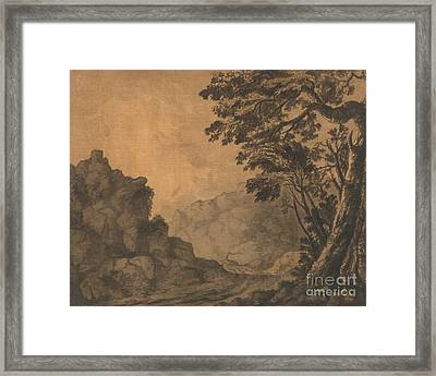 A Road In A Mountain Landscape With Trees To The Right Framed Print by Celestial Images