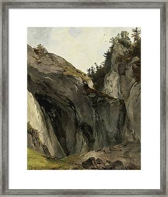 A Rocky Outcrop With Vegetation Framed Print by Friedrich Gauermann