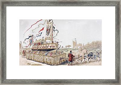 A Royal Barge Being Pulled On A Wagon Framed Print by Vintage Design Pics
