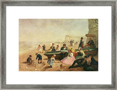 A Seaside Scene  Framed Print by Jane Maria Bowkett