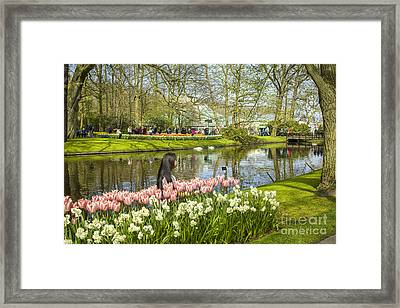 A Selfie In Between Tulips Framed Print by Patricia Hofmeester