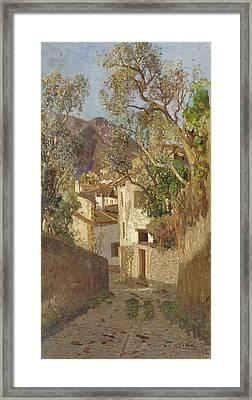 A Shaded Village Road, 1902 Framed Print by Tina Blau-Lang