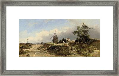 A Shepherd And His Collie Rounding Up The Flock Framed Print by Edward Duncan