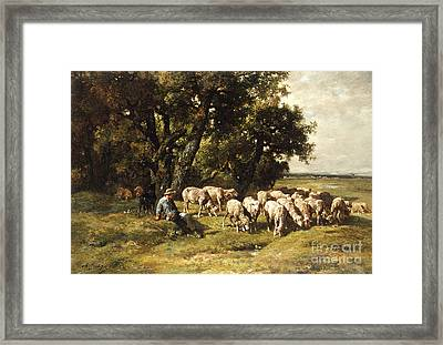 A Shepherd And His Flock Framed Print by Charles Emile Jacques