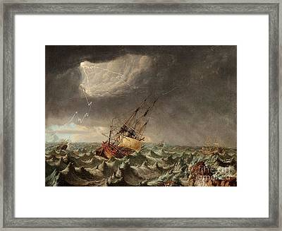 A Ship In Storm Framed Print by Johan Tietrich