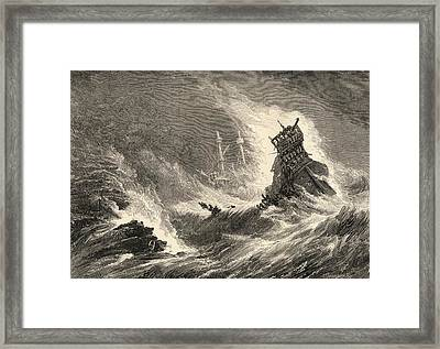 A Ship Of The Spanish Armada Wrecked On Framed Print by Vintage Design Pics