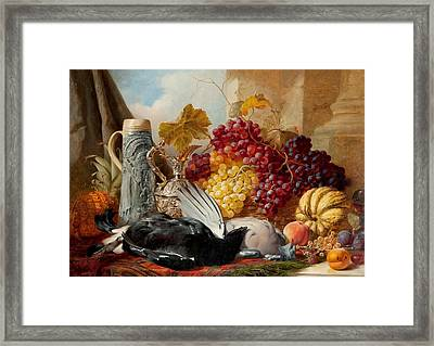A Silver Gilt Claret Jug And Fruit  Framed Print by William Duffield