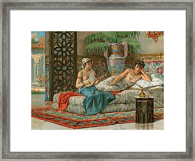 A Slave In The Harem Framed Print by Dionisio Baixeras-Verdaguer