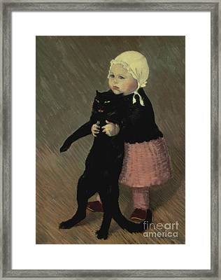 A Small Girl With A Cat Framed Print by TA Steinlen