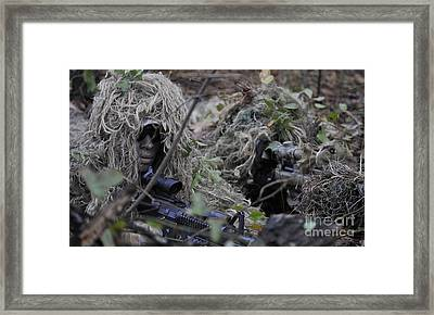 A Sniper Team Spotter And Shooter Framed Print by Stocktrek Images