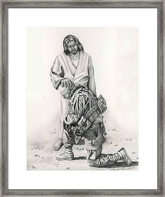 A Soldier's Prayer Framed Print by Linda Bissett