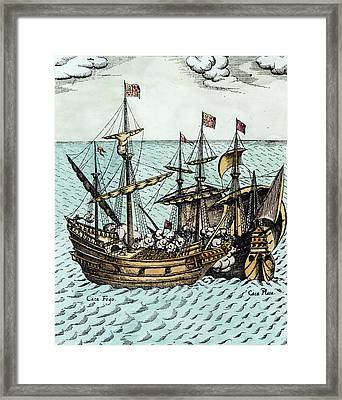 A Spanish Treasure Ship Plundered By Francis Drake Framed Print by Dutch School