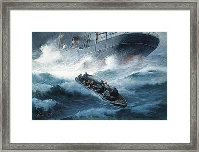 A Steam Yacht Foundering In A Storm With Rescue At Hand Framed Print by Pavlo Prosalentis