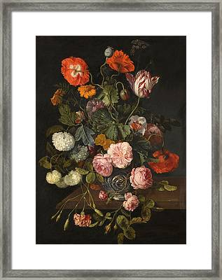 A Still Life With Parrot Tulips Poppies Roses Snow Balls And Other Flowers In A Glass Vase Over A St Framed Print by Cornelis Kick
