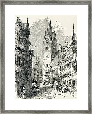 A Street In Hanover, Lower Saxony Framed Print by Vintage Design Pics