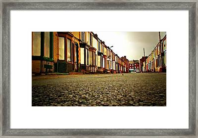 A Street Of Derelict Houses Ready For Demolition Digital Painting Framed Print by Ken Biggs