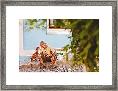 A Street Scene In Bozca Island Framed Print by Ilker Goksen