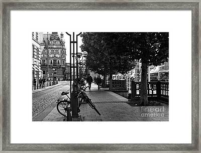 A Stroll In Hamburg Mono Framed Print by John Rizzuto