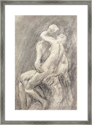 A Study Of Rodin's Kiss In His Studio Framed Print by Gwen John