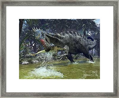 A Suchomimus Snags A Shark From A Lush Framed Print by Walter Myers