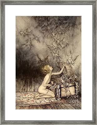 A Sudden Swarm Of Winged Creatures Brushed Past Her Framed Print by Arthur Rackham