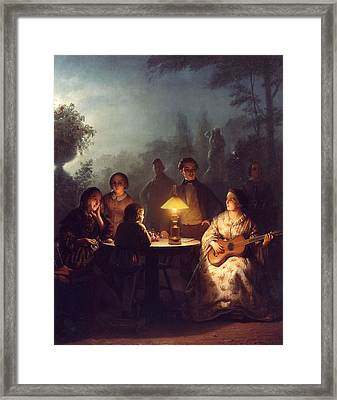 A Summer Evening By Lamp Framed Print by Petrus van