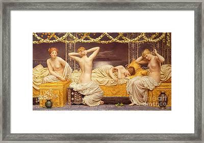 A Summer Night Framed Print by Albert Joseph Moore