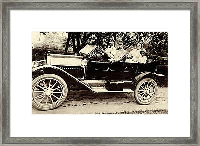 A Sunday Drive - Around 1910 Framed Print by Suzanne Gaff