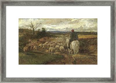 A Sussex Lane, 1872 Framed Print by John Samuel Raven