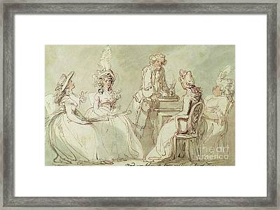 A Tea Party Framed Print by Thomas Rowlandson