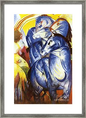 A Tower Of Blue Horses Framed Print by Franz Marc