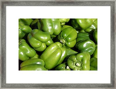 A Trip Through The Farmers Market Featuring Green Bell Peppers Framed Print by Michael Ledray
