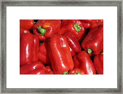 A Trip Through The Farmers Market Featuring Red Bell Peppers Framed Print by Michael Ledray