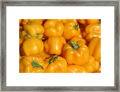 A Trip Through The Farmers Market Featuring Yellow Bell Peppers Framed Print by Michael Ledray