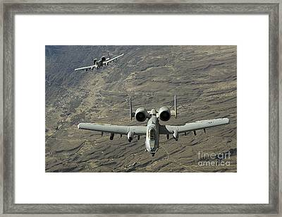 A Two-ship A-10 Thunderbolt II Framed Print by Stocktrek Images