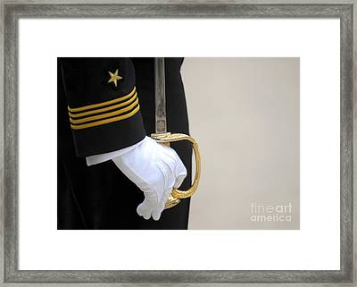 A U.s. Naval Academy Midshipman Stands Framed Print by Stocktrek Images