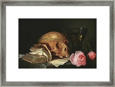 A Vanitas Still Life With A Skull, A Book And Roses Framed Print by Jan Davidsz de Heem