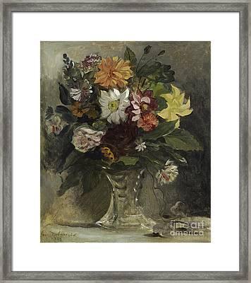 A Vase Of Flowers Framed Print by Eugene Delacroix