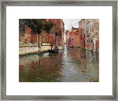 A Venetian Backwater Framed Print by Frits Thaulow