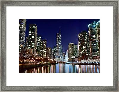 A View Down The Chicago River Framed Print by Frozen in Time Fine Art Photography