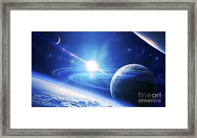 A View Of A Planet As It Looms In Close Framed Print by Kevin Lafin
