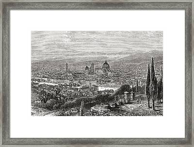 A View Of Florence, Tuscany, Italy From Framed Print by Vintage Design Pics