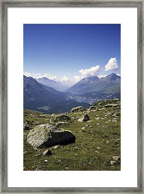 A View Of The Lakes Down The Engadine Framed Print by Taylor S. Kennedy