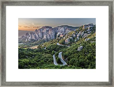 A View Of The Meteora Valley In Greece Framed Print by Andres Leon