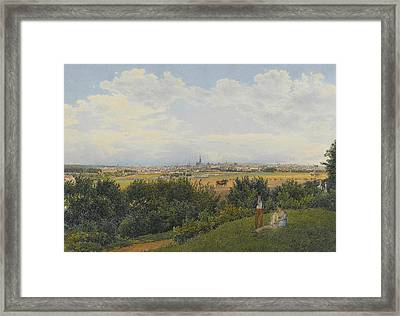 A View Of Vienna From The Prater With Figures In The Foreground Framed Print by Rudolph von Alt